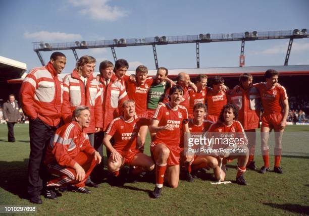 Liverpool celebrate after the Barclays League Division One match against Tottenham Hotspur at Anfield that clinched the League Title on April 23,...