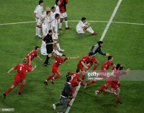 Liverpool celebrate after they won European Champions League final between Liverpool and AC Milan on May 25 2005 at the Ataturk Olympic Stadium in...
