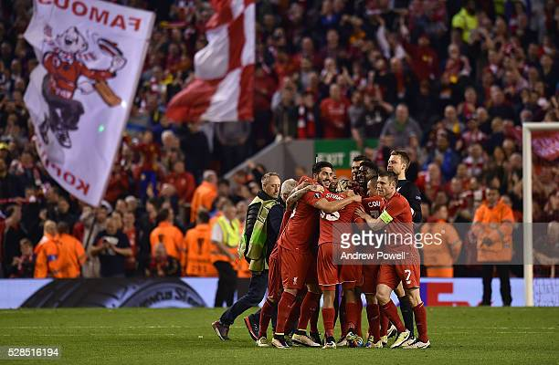Liverpool celebrate at the end of the UEFA Europa League Semi Final Second Leg match between Liverpool and Villarreal CF at Anfield on May 05 2016 in...