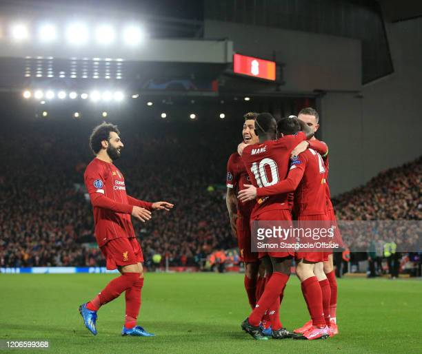 Liverpool celebrate their 1st goal during the UEFA Champions League round of 16 second leg match between Liverpool FC and Atletico Madrid at Anfield...