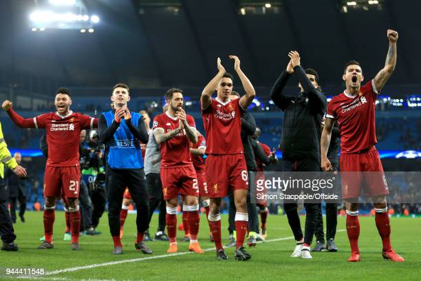 Liverpool celebrate their victory during the UEFA Champions League Quarter Final Second Leg match between Manchester City and Liverpool at the Etihad...
