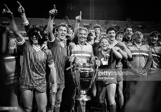 Liverpool celebrate victory in the European Cup Final over Roma at the Olympic Stadium in Rome on 30th May 1984 Liverpool won 42 on penalties after...