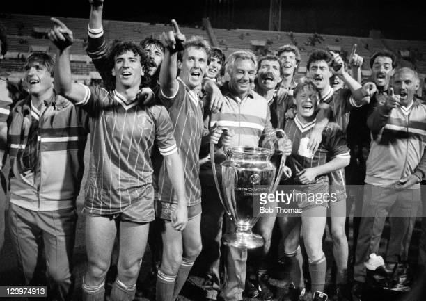 Liverpool celebrate victory in the European Cup Final over Roma at the Olympic Stadium in Rome on 30th May, 1984. Liverpool won 4-2 on penalties...