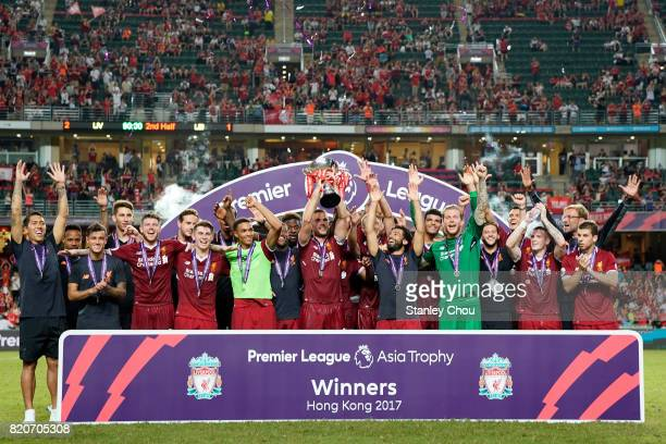 Liverpool celebrates with the Premier league Asia Trophy after beating Leicester City 21 in the final during the Premier League Asia Trophy match...