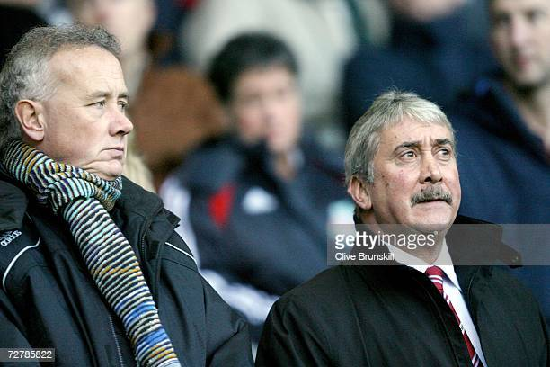 Liverpool chairman David Moores and chief executive Rick Parry during the Barclays Premiership match between Liverpool and Fulham at Anfield on...