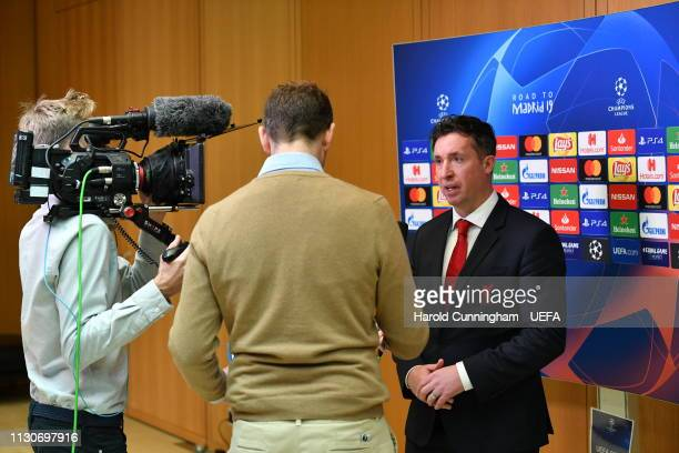 Liverpool Club Ambassador Robbie Fowler is interviewed following the UEFA Champions League 2018/19 Quarterfinal Semifinal and Final draws at the UEFA...
