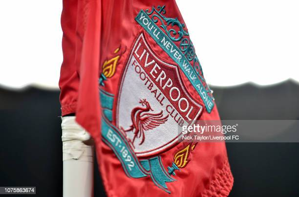 Liverpool club crest on an Anfield corner flag during the Premier League match between Liverpool FC and Arsenal FC at Anfield on December 29 2018 in...