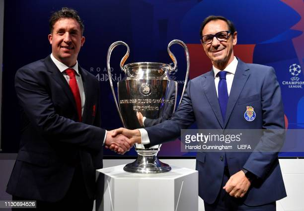 Liverpool Club Representative Robbie Fowler and Porto Head of Scouting Fernando Gomes with the trophy following the UEFA Champions League 2018/19...