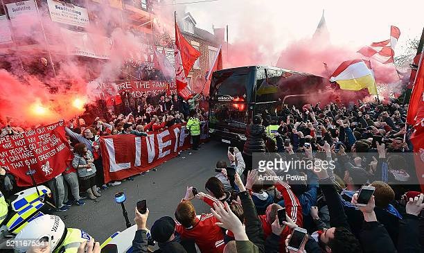 Liverpool coach arrives before the UEFA Europa League Quarter Final Second Leg match between Liverpool and Borussia Dortmund at Anfield on April 14...