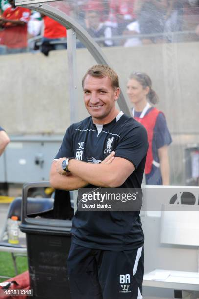 Liverpool Coach Brendan Rodgers before the start of the match against the Olympiacos FC in the International Champions Cup 2014 on July 27 2014 at...