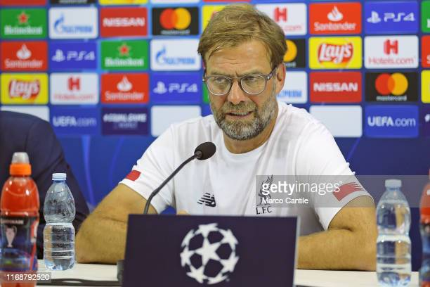 Liverpool coach Jurgen Klopp during the press conference at the San Paolo stadium the day before the Champions League match between Napoli and...