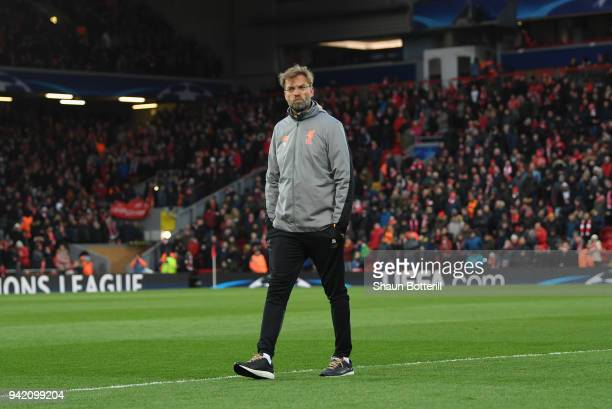 Liverpool coach Jurgen Klopp looks on prior to UEFA Champions League Quarter Final Leg One match between Liverpool and Manchester City at Anfield on...