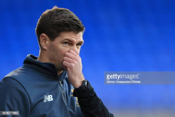 Liverpool coach Steven Gerrard looks dejected during the UEFA Youth League Round of 16 match between Liverpool and Manchester United at Prenton Park...