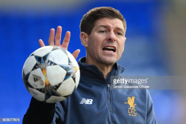 Liverpool coach Steven Gerrard looks on during the UEFA Youth League Round of 16 match between Liverpool and Manchester United at Prenton Park on...