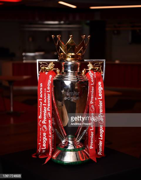Liverpool current Premier League trophy at Anfield on July 28 2020 in Liverpool England