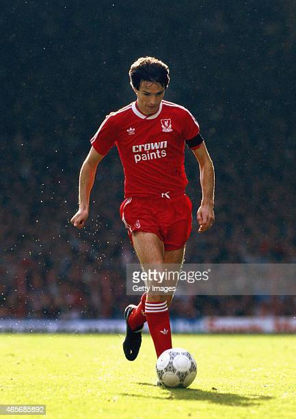 Liverpool defender Alan Hansen in action during a First Division Match in 1987 at Anfield in Liverpool England