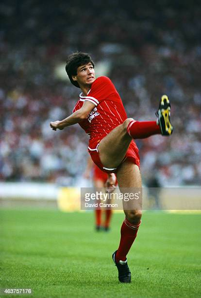 Liverpool defender Alan Hansen in action during a match against Wolverhampton Wanderers on August 27 1983 in Wolverhampton England
