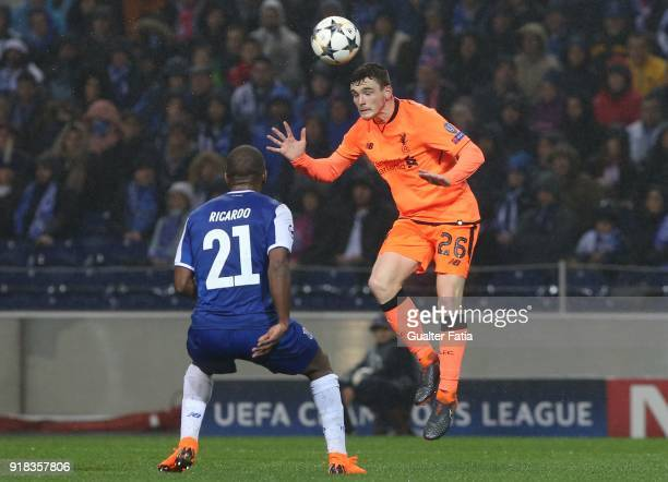 Liverpool defender Andy Robertson from Scotland with FC Porto defender Ricardo Pereira from Portugal in action during the UEFA Champions League Round...