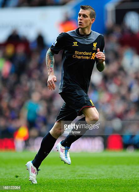 Liverpool defender Daniel Agger in action during the Barclays Premier League match between Aston Villa and Liverpool at Villa Park on March 31 2013...