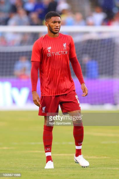 Liverpool defender Joe Gomez warms up prior to the International Champions Cup Soccer game between Liverpool and Manchester City on July 25 2018 at...
