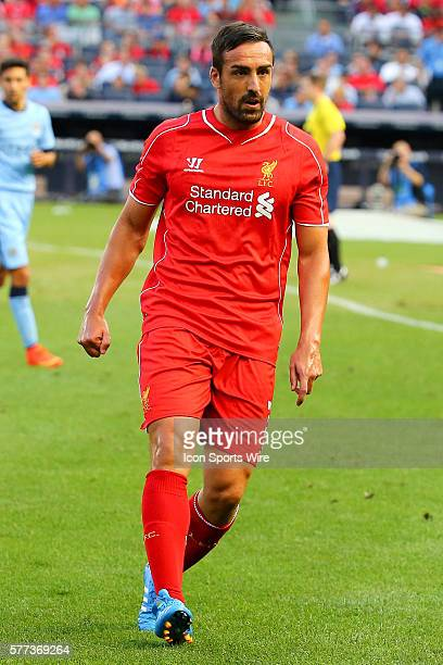 Liverpool defender Jose Enrique during the game between Manchester City and the Liverpool played at Yankee Stadium in the Bronx New York. The game...
