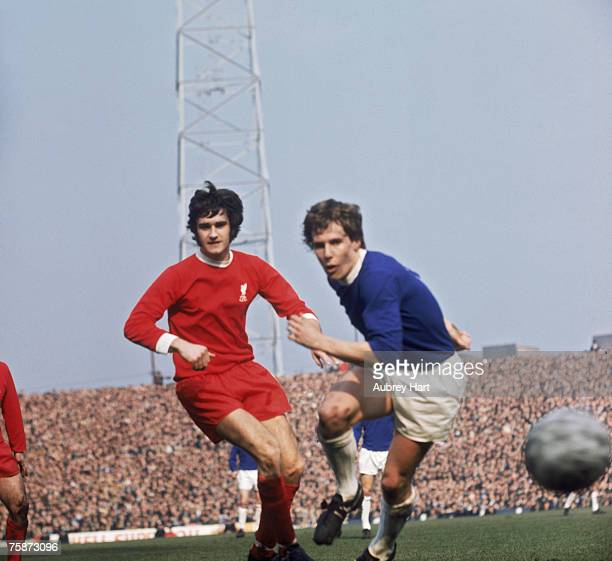 Liverpool defender Larry Lloyd and Everton centreforward Joe Royle in action during an FA Cup semifinal match against Everton at Old Trafford...
