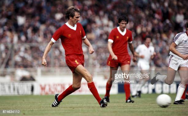 Liverpool defender Phil Thompson in action against West Ham during the 1980 FA Charity Shield at Wembley Stadium on August 9 1980
