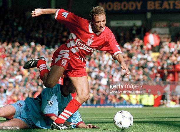 Liverpool defender Rob Jones moves forward with the ball during the FA Premier League match against West Ham United at Anfield in Liverpool 10th...