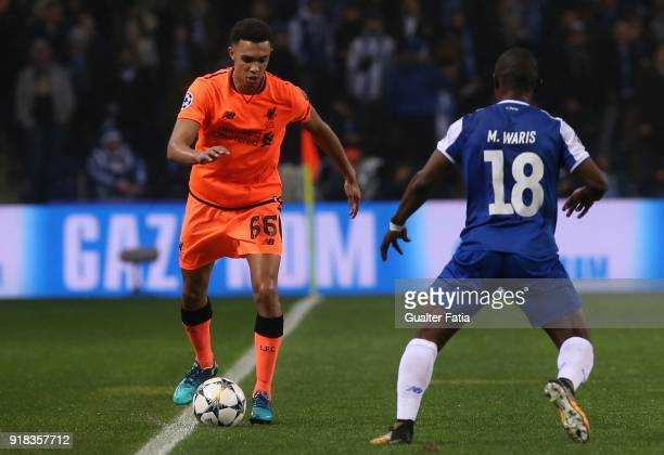 Liverpool defender Trent Alexander Arnold from England with FC Porto forward Majeed Waris from Ghana in action during the UEFA Champions League Round...