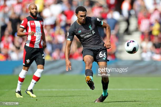 Liverpool defender Trent Alexander-Arnold clears upfield during the Premier League match between Southampton and Liverpool at St Mary's Stadium,...