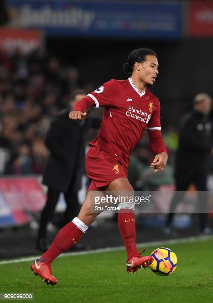 Liverpool defender Virgil van Dijk in action during the Premier League match between Swansea City and Liverpool at Liberty Stadium on January 22 2018...