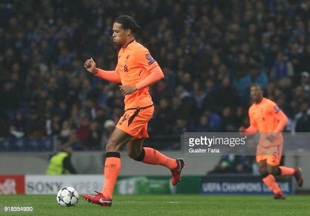Liverpool defender Virgil Van Djik from Netherland in action during the UEFA Champions League Round of 16 First Leg match between FC Porto and...