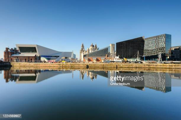 liverpool docks waterfront reflections, england, uk - liverpool england stock pictures, royalty-free photos & images