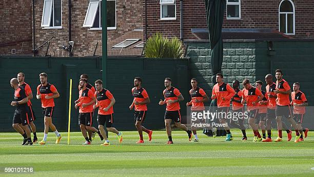 Liverpool during a training session at Melwood Training Ground on August 16 2016 in Liverpool England