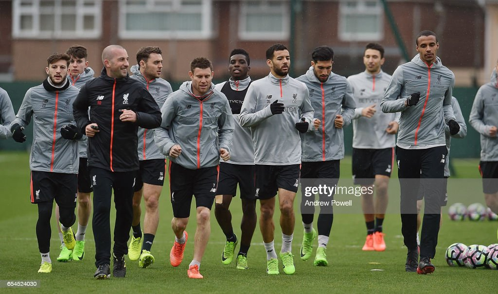 Liverpool during a training session at Melwood Training Ground on March 17, 2017 in Liverpool, England.