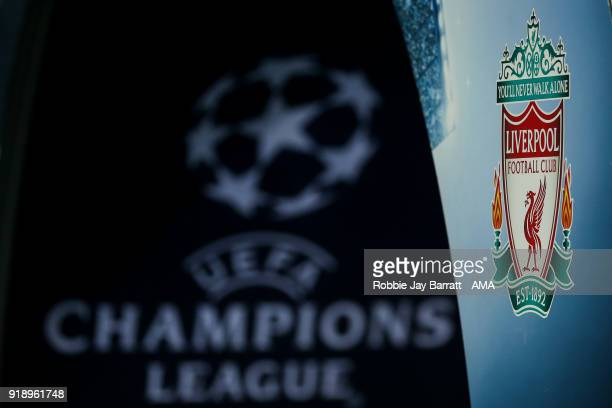 Liverpool emblem is seen next to UEFA Champions League branding during the UEFA Champions League Round of 16 First Leg match between FC Porto and...