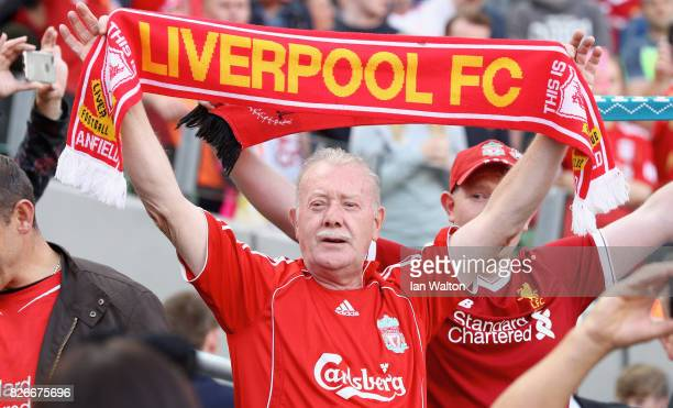Liverpool fan enjoys the pre season atmosphere prior to the Pre Season Friendly match between Liverpool and Athletic Club at Aviva Stadium on August...