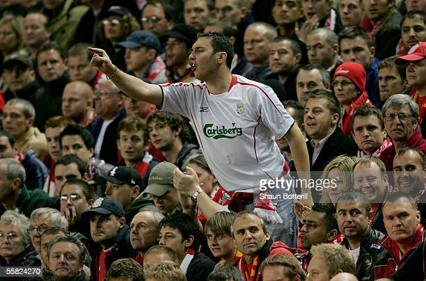 Liverpool fan shows his feelings during the UEFA Champions League Group G match between Liverpool v Chelsea at Anfield on September 28 2005 in...