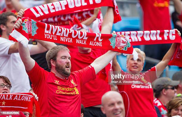 Liverpool fan sing along to 'You'll Never Walk Alone' prior to the Guinness International Champions Cup match against AC Milan at Bank of America...