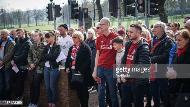 Liverpool fans and football fans gathered outside the Sheffield Wednesday football ground during the memorial service in Sheffield South Yorkshire 15...