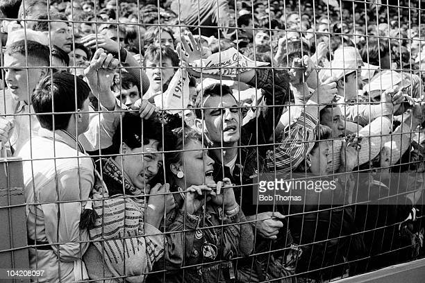 Liverpool fans are crushed on the terraces during the FA Cup Semi-Final match between Liverpool and Nottingham Forest held at Hillsborough, Sheffield...