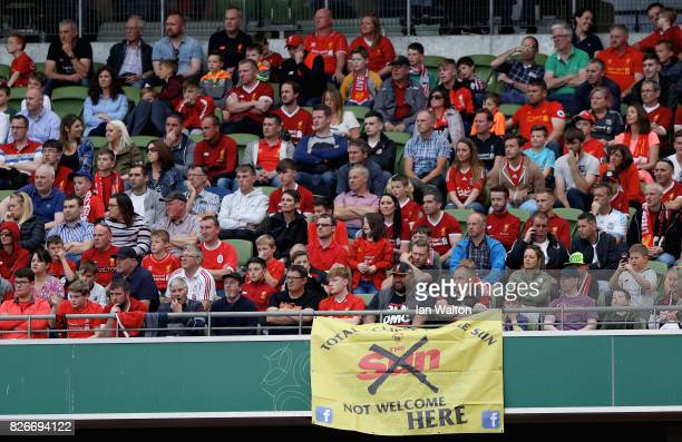 Liverpool fans are seen during the Pre Season Friendly match between Liverpool and Athletic Club at Aviva Stadium on August 5 2017 in Dublin Ireland