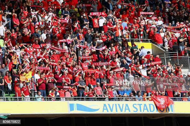 Liverpool fans are seen inside the stadium prior to the Pre Season Friendly match between Liverpool and Athletic Club at Aviva Stadium on August 5...