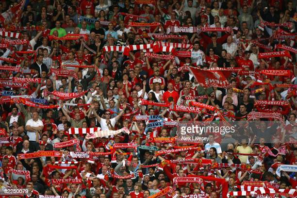 Liverpool fans at the Kop End during the pre season friendly match between Liverpool and Lazio at Anfield on August 8 2008 in Liverpool England