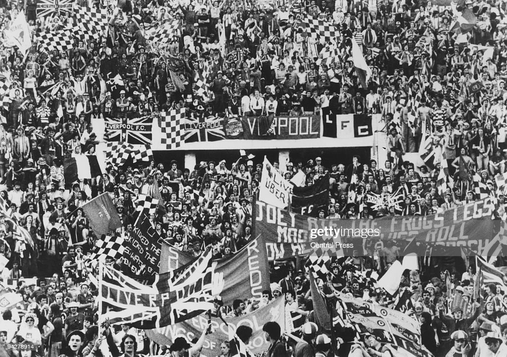 Liverpool fans at the Stadio Olimpico in Rome to watch their team play Borussia Monchengladbach in the European Cup final, 25th May 1977. Liverpool won the match 3-1.