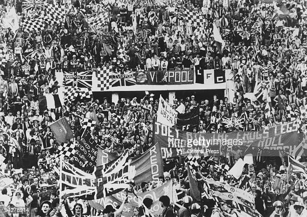 Liverpool fans at the Stadio Olimpico in Rome to watch their team play Borussia Monchengladbach in the European Cup final 25th May 1977 Liverpool won...