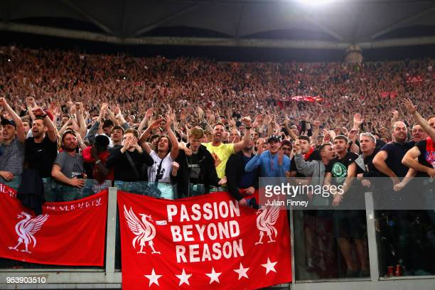 Liverpool fans celebrate after the full time whistle as Liverpool qualify for the Champions League Final during the UEFA Champions League Semi Final...