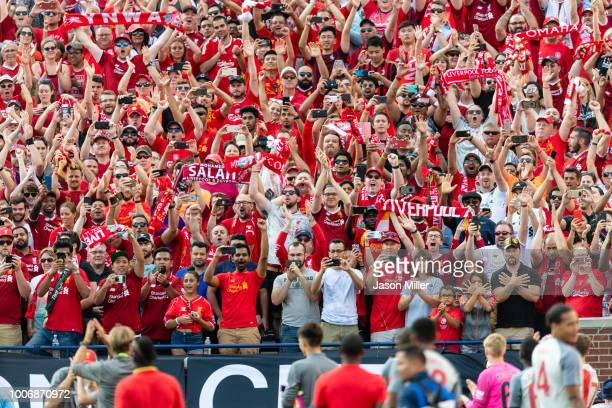 Liverpool fans celebrate as their team tours the stadium after defeating Manchester United during the International Champions Cup 2018 at Michigan...
