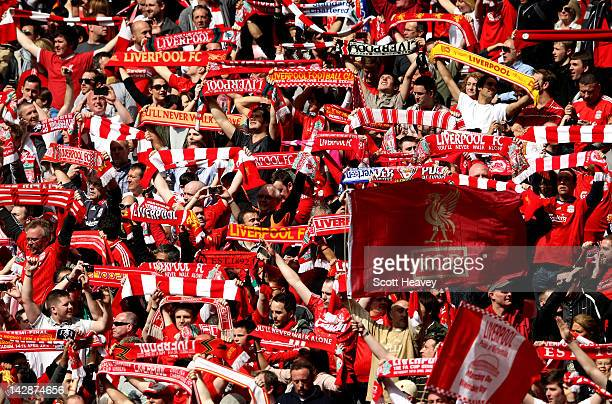 Liverpool fans celebrates victory after the FA Cup with Budweiser Semi Final match between Liverpool and Everton at Wembley Stadium on April 14 2012...