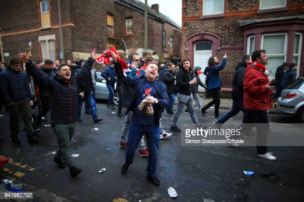 Liverpool fans cheer in the streets prior to the UEFA Champions League Quarter Final First Leg match between Liverpool and Manchester City at Anfield...